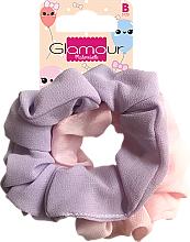Парфюмерия и Козметика Ластици за коса, 417616, розова и лилава - Glamour