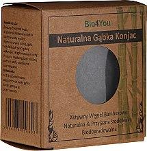 Парфюмерия и Козметика Натурална гъба конджак за лице с активен въглен - Bio4You