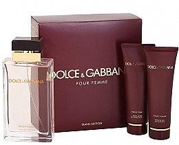 Парфюми, Парфюмерия, козметика Dolce & Gabbana Pour Femme - Комплект (парф. вода/100ml + лосион за тяло/50ml + душ гел/50ml)