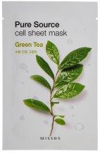 Парфюмерия и Козметика Овлажняваща маска за лице със зелен чай - Missha Pure Source Sheet Mask Green Tea