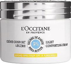 Парфюми, Парфюмерия, козметика Лек дневен крем за лице - L'Occitane Shea Butter Light Comforting Face Cream SPF15
