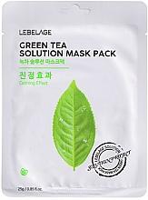Парфюмерия и Козметика Памучна маска за лице със зелен чай - Lebelage Green Tea Solution Mask