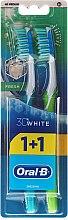 Парфюми, Парфюмерия, козметика Комплект четки за зъби, синя и зелена - Oral-B 3D White Fresh 40 Medium 1+1