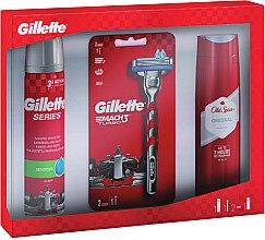 Парфюмерия и Козметика Комплект - Gillette (душ гел/250ml + гел за бръснене/200ml + самобръсначка/1бр)