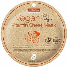 Парфюмерия и Козметика Памучна маска за лице с витамини - Purederm Vegan Sheet Mask Vitamin