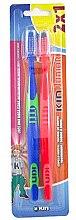 Парфюми, Парфюмерия, козметика Комплект детски четки за зъби, синя + червена - Kin Junior Toothbrush Pack