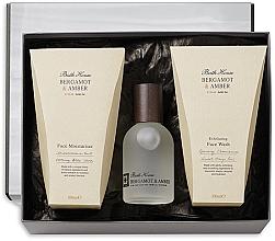 Парфюмерия и Козметика Bath House Bergamot & Amber - Комплект за мъже (одеколон/100ml + ексф. гел/100ml + крем/100ml)