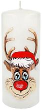 "Парфюмерия и Козметика Декоративна свещ ""Рудолф"", бяла, 7х18см - Artman Christmas Candle Rudolf"