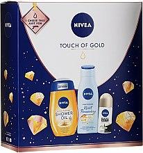 Комплект за тяло - Nivea Touch of Gold (душ масло/200ml + балсам/200ml + део/50ml) — снимка N1
