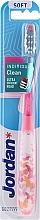 Парфюмерия и Козметика Мека четка за зъби с капачка, розова с пеперуди - Jordan Individual Clean Soft