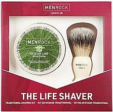 Парфюмерия и Козметика Комплект за бръснене - Men Rock The Life Shaver Sicilian Lime Kit (четка/1бр + крем/100ml)