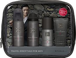 Парфюмерия и Козметика Комплект за мъже - Rituals The Ritual of Samurai Essentials Travel Set (душ-пяна/50ml + пяна за бръснене/50ml + крем за лице/30ml + део/50ml + козм. чанта)