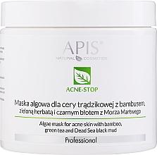 Парфюмерия и Козметика Маска от водорасли с бамбук, зелен чай и черна кал от Мъртво море - APIS Professional Algae Mask For Acne Skin