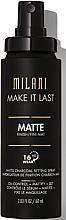 Парфюмерия и Козметика Спрей за фиксиране на грим - Milani Make It Last Matte Charcoal Setting Spray