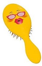 Парфюмерия и Козметика Четка за коса 2003W, емотиконка с очила - IDC Design XL Detangle Brush