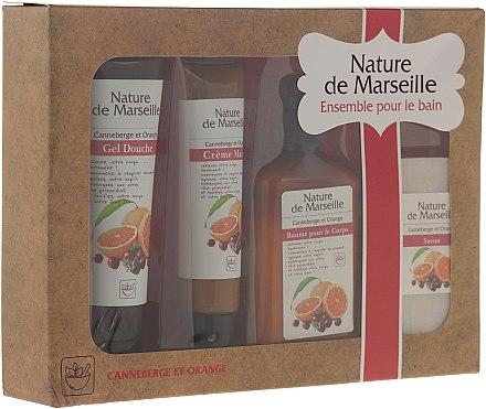 """Комплект за тяло """"Портокал и червена боровинка"""" - Nature de Marseille (лосион/150ml + душ гел/100ml + крем за ръце/60ml + сапун/90g) — снимка N1"""