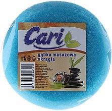 Парфюмерия и Козметика Кръгла гъба за баня, бяло-синя - Cari