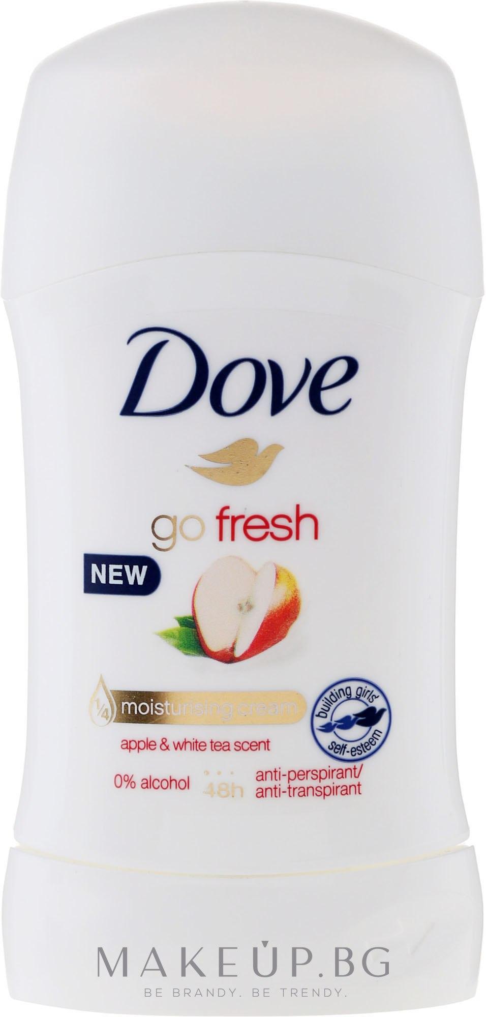 Стик дезодорант с аромат на ябълка и бял чай - Dove Go Fresh Apple & White Tea Deodorant — снимка 40 ml