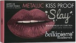 Парфюми, Парфюмерия, козметика Козметичен комплект за устни (l/l/1.5g+l/cr/3.8ml+l/cr/9ml) - Bellapierre Kiss Proof Metallic Slay (Miami Glam)