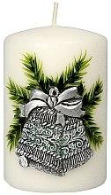 """Парфюми, Парфюмерия, козметика Декоративна свещ """"Сребърно-тюркоазена коледна камбана"""", 7x10 cm Artman Christmas Bell Candle - Artman Christmas Bell Candle"""