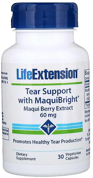 """Хранителна добавка """"Екстракт от Маки бери"""" за защита на очите, на капсули - Life Extension Tear Support with MaquiBright — снимка N1"""