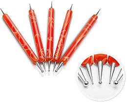 Парфюмерия и Козметика Комплект точкатори за нокти, оранжеви - Silcare