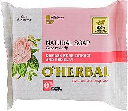 Парфюмерия и Козметика Натурален сапун с екстракт от роза - O'Herbal Natural Soap Damask Rose