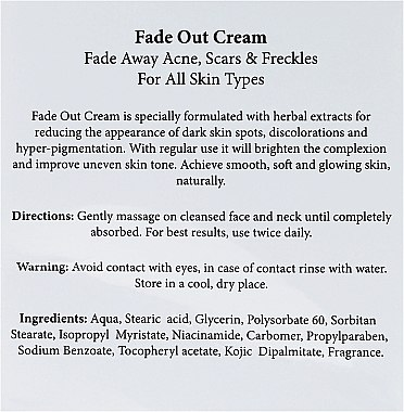 Крем за лице против акне - Hemani Fade Out Cream — снимка N3