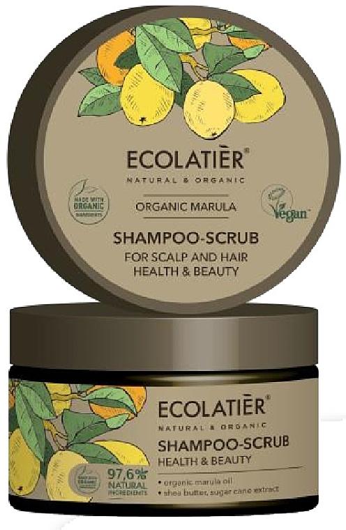 "Скраб-шампоан за скалп и коса ""Здраве и красота"" - Ecolatier Organic Marula Shampoo-Scrub"