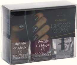 Парфюми, Парфюмерия, козметика Комплект лак за нокти - Alessandro International Glam Session Croco Glam (base/5ml + nail/5ml + car/5ml)