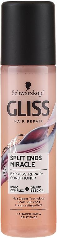 Спрей-балсам за коса с йонен комплекс и масло от гроздови семки, без отмиване - Schwarzkopf Gliss Split Ends Miracle Express-Repair Conditioner