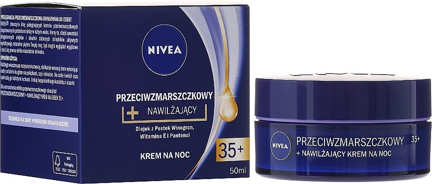 "Нощен крем ""Енергия на младостта + еластичност"" 35+ - Nivea Anti-Wrinkle Moisture Night Cream 35+"