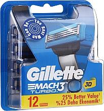 Парфюмерия и Козметика Сменяеми ножчета за бръснене, 12 бр. - Gillette Mach3 Turbo