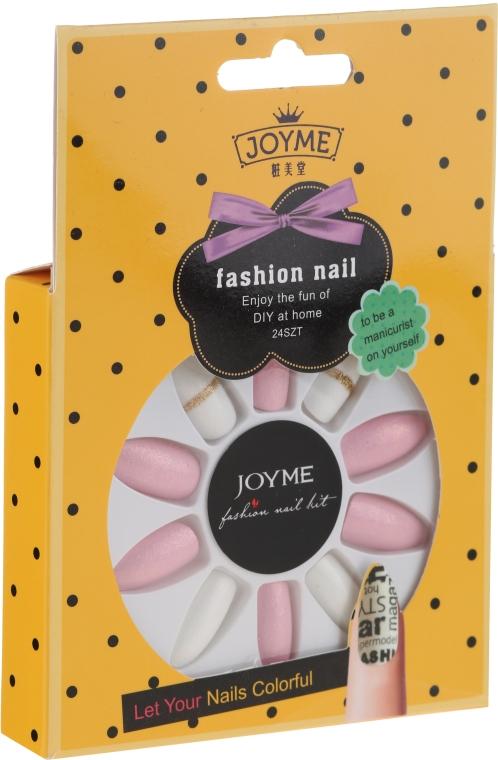 Комплект изкуствени нокти, бяло с розово - Donegal Express Your Beauty