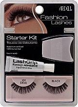 Парфюмерия и Козметика Комплект изкуствени мигли и лепило - Ardell Fashion Lashes Starter Kit Demi Black 101