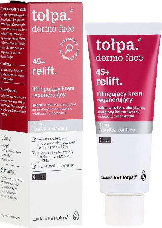 Нощен възстановяващ крем за лице - Tolpa Dermo Face Relift 45+ Night Cream