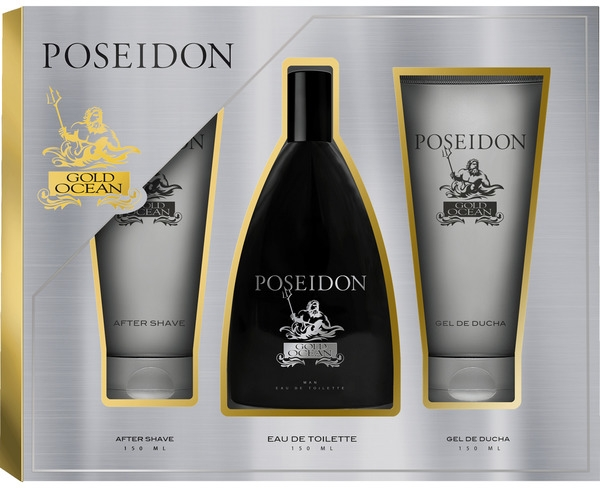 Instituto Espanol Poseidon Gold - Комплект (тоал. вода/150ml + афтър. балсам/150ml + душ гел/150ml) — снимка N1