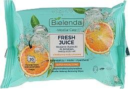 """Парфюми, Парфюмерия, козметика Мицеларни кърпички за премахване на грим """"Портокал"""" - Bielenda Fresh Juice Micelar Make-up Removing Wipes"""