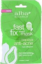 Парфюмерия и Козметика Маска за лице против акне с папая - Alba Botanica Fast Fix Anti Acne Sheet Mask