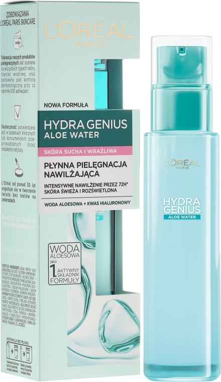 Аква-флуид за суха и чувствителна кожа - L'Oreal Paris Hydra Genius Aloe Water