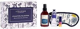 Парфюми, Парфюмерия, козметика Комплект - L'Occitane Relaxing Collection (масло-серум/5ml + спрей/100ml + крем за ръце/30ml + маска за сън/1)