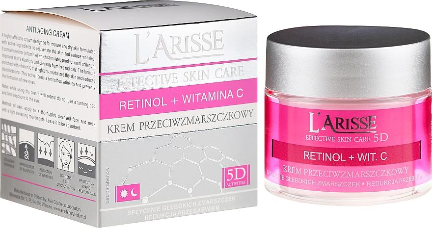Крем против бръчки с ретинол и витамин С 50+ - Ava Laboratorium L'Arisse 5D Anti-Wrinkle Cream Retinol + Vitamin C