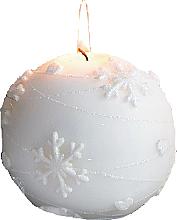Парфюмерия и Козметика Декоративна свещ, топка, бяла, 8 см - Artman Snowflake Application