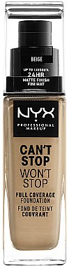 Фон дьо тен - NYX Professional Makeup Can't Stop Won't Stop Full Coverage Foundation — снимка N1