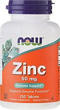 Парфюмерия и Козметика Минерали Цинков глюконат, за добър метаболизъм и младост 50 мг, таблетки - Now Foods Zink