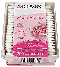 Парфюми, Парфюмерия, козметика Клечки за уши с масло от японска роза, 200 бр. - Cleanic Rose Beauty Cotton Buds