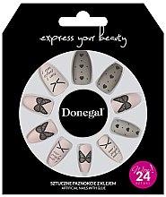 Парфюми, Парфюмерия, козметика Комплект изкуствени нокти с лепило, 3046 - Donegal