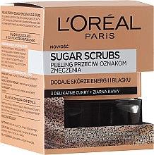 """Парфюми, Парфюмерия, козметика Захарен скраб за лице """"3 вида захар + кафени зърна"""" - L'Oreal Paris Pure-Sugar Resurface & Energize Kona Coffee Scrub"""