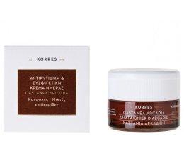 Парфюми, Парфюмерия, козметика Стягащ дневен крем против бръчки - Korres Castanea Arcadia Antiwrinkle&Firming Day Cream For Dry and Very Dry Skin