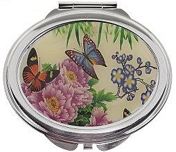 """Парфюмерия и Козметика Компактно огледалце, """"Пеперуди"""", 85451, лилави цветя - Top Choice"""